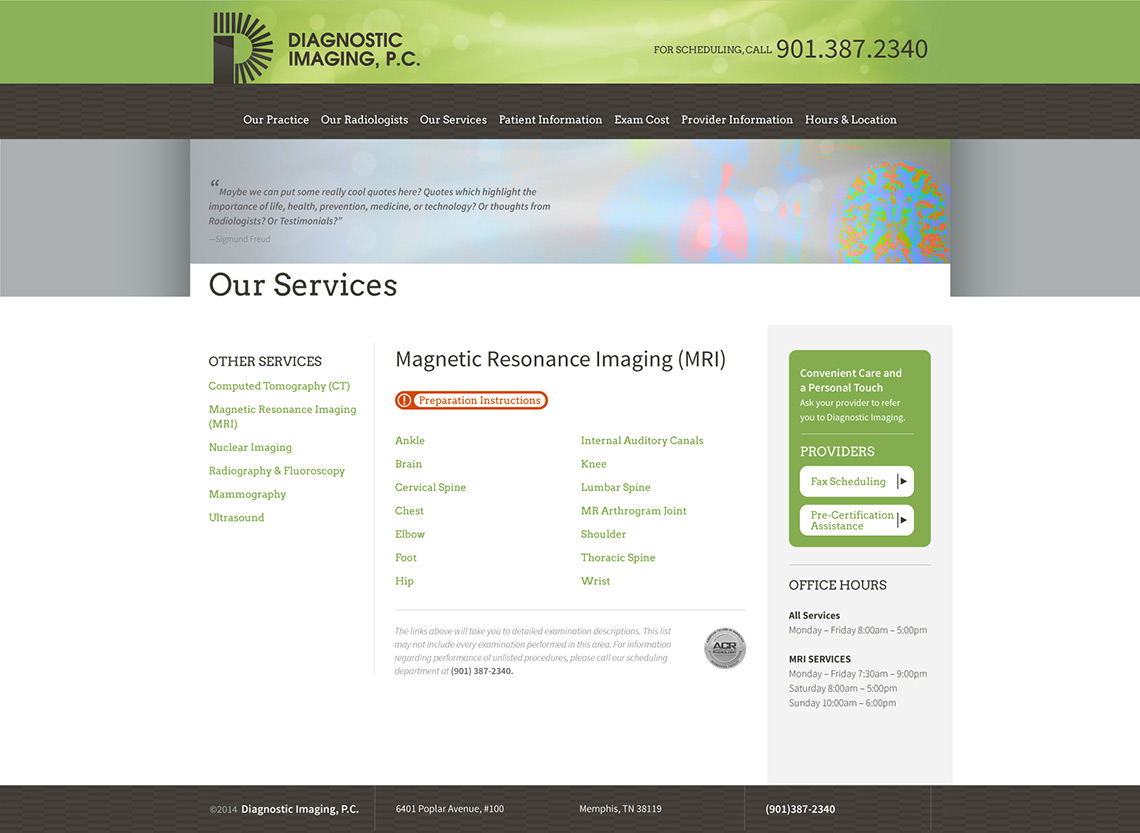 Diagnostic Imaging Web Design Services